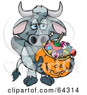 Royalty Free RF Clipart Illustration Of A Trick Or Treating Longhorn Bull Holding A Pumpkin Basket Full Of Halloween Candy by Dennis Holmes Designs
