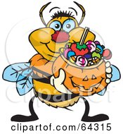 Royalty Free RF Clipart Illustration Of A Trick Or Treating Bumble Bee Holding A Pumpkin Basket Full Of Halloween Candy by Dennis Holmes Designs