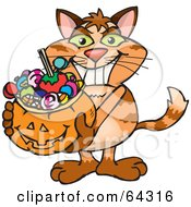 Royalty Free RF Clipart Illustration Of A Trick Or Treating Ginger Cat Holding A Pumpkin Basket Full Of Halloween Candy by Dennis Holmes Designs