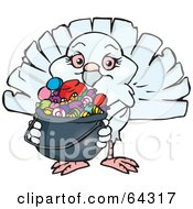 Royalty Free RF Clipart Illustration Of A Trick Or Treating Dove Holding A Pumpkin Basket Full Of Halloween Candy by Dennis Holmes Designs