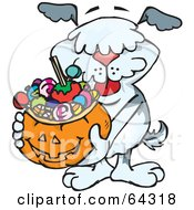 Royalty Free RF Clipart Illustration Of A Trick Or Treating Sheepdog Holding A Pumpkin Basket Full Of Halloween Candy by Dennis Holmes Designs