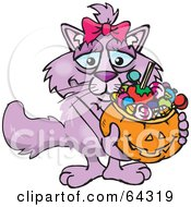 Royalty Free RF Clipart Illustration Of A Trick Or Treating Pink Cat Holding A Pumpkin Basket Full Of Halloween Candy