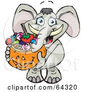 Royalty Free RF Clipart Illustration Of A Trick Or Treating Elephant Holding A Pumpkin Basket Full Of Halloween Candy by Dennis Holmes Designs