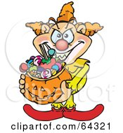 Royalty Free RF Clipart Illustration Of A Trick Or Treating Clown Holding A Pumpkin Basket Full Of Halloween Candy