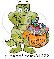 Royalty Free RF Clipart Illustration Of A Trick Or Treating Crocodile Holding A Pumpkin Basket Full Of Halloween Candy