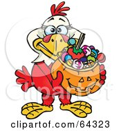 Royalty Free RF Clipart Illustration Of A Trick Or Treating Hen Holding A Pumpkin Basket Full Of Halloween Candy by Dennis Holmes Designs