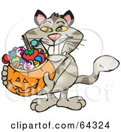 Royalty Free RF Clipart Illustration Of A Trick Or Treating Cat Holding A Pumpkin Basket Full Of Halloween Candy