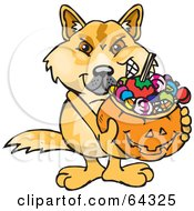 Royalty Free RF Clipart Illustration Of A Trick Or Treating Dingo Holding A Pumpkin Basket Full Of Halloween Candy by Dennis Holmes Designs