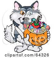 Royalty Free RF Clipart Illustration Of A Trick Or Treating Husky Holding A Pumpkin Basket Full Of Halloween Candy by Dennis Holmes Designs