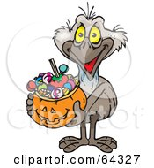 Royalty Free RF Clipart Illustration Of A Trick Or Treating Emu Holding A Pumpkin Basket Full Of Halloween Candy