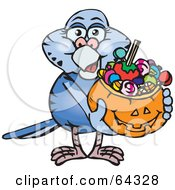 Royalty Free RF Clipart Illustration Of A Trick Or Treating Budgerigar Holding A Pumpkin Basket Full Of Halloween Candy