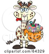 Royalty Free RF Clipart Illustration Of A Trick Or Treating Giraffe Holding A Pumpkin Basket Full Of Halloween Candy