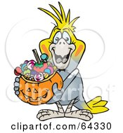 Royalty Free RF Clipart Illustration Of A Trick Or Treating Cockatiel Holding A Pumpkin Basket Full Of Halloween Candy by Dennis Holmes Designs