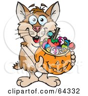 Royalty Free RF Clipart Illustration Of A Trick Or Treating Hamster Holding A Pumpkin Basket Full Of Halloween Candy by Dennis Holmes Designs
