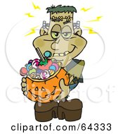 Royalty Free RF Clipart Illustration Of A Trick Or Treating Frankenstein Holding A Pumpkin Basket Full Of Halloween Candy by Dennis Holmes Designs