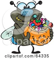 Royalty Free RF Clipart Illustration Of A Trick Or Treating Fly Holding A Pumpkin Basket Full Of Halloween Candy