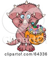 Royalty Free RF Clipart Illustration Of A Trick Or Treating Triceratops Holding A Pumpkin Basket Full Of Halloween Candy