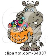 Royalty Free RF Clipart Illustration Of A Trick Or Treating Hippo Holding A Pumpkin Basket Full Of Halloween Candy
