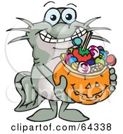 Royalty Free RF Clipart Illustration Of A Trick Or Treating Catfish Holding A Pumpkin Basket Full Of Halloween Candy