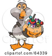 Trick Or Treating Goose Holding A Pumpkin Basket Full Of Halloween Candy