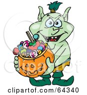 Royalty Free RF Clipart Illustration Of A Trick Or Treating Goblin Holding A Pumpkin Basket Full Of Halloween Candy by Dennis Holmes Designs