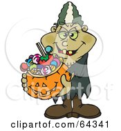 Royalty Free RF Clipart Illustration Of A Trick Or Treating Bride Of Frankenstein Holding A Pumpkin Basket Full Of Halloween Candy by Dennis Holmes Designs