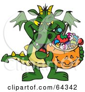 Royalty Free RF Clipart Illustration Of A Trick Or Treating Green Dragon Holding A Pumpkin Basket Full Of Halloween Candy