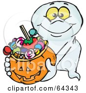 Royalty Free RF Clipart Illustration Of A Trick Or Treating Friendly Ghost Holding A Pumpkin Basket Full Of Halloween Candy by Dennis Holmes Designs