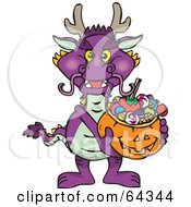 Royalty Free RF Clipart Illustration Of A Trick Or Treating Purple Dragon Holding A Pumpkin Basket Full Of Halloween Candy