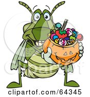 Royalty Free RF Clipart Illustration Of A Trick Or Treating Grasshopper Holding A Pumpkin Basket Full Of Halloween Candy