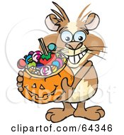 Royalty Free RF Clipart Illustration Of A Trick Or Treating Guinea Pig Holding A Pumpkin Basket Full Of Halloween Candy