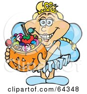 Royalty Free RF Clipart Illustration Of A Trick Or Treating Fairy Holding A Pumpkin Basket Full Of Halloween Candy by Dennis Holmes Designs