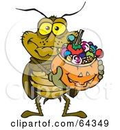 Royalty Free RF Clipart Illustration Of A Trick Or Treating Cockroach Holding A Pumpkin Basket Full Of Halloween Candy