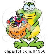 Royalty Free RF Clipart Illustration Of A Trick Or Treating Frog Holding A Pumpkin Basket Full Of Halloween Candy