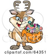Royalty Free RF Clipart Illustration Of A Trick Or Treating Doe Holding A Pumpkin Basket Full Of Halloween Candy