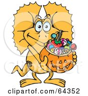Royalty Free RF Clipart Illustration Of A Trick Or Treating Frill Lizard Holding A Pumpkin Basket Full Of Halloween Candy by Dennis Holmes Designs
