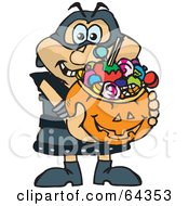 Royalty Free RF Clipart Illustration Of A Trick Or Treating Executioner Holding A Pumpkin Basket Full Of Halloween Candy by Dennis Holmes Designs