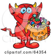 Royalty Free RF Clipart Illustration Of A Trick Or Treating Devil Holding A Pumpkin Basket Full Of Halloween Candy by Dennis Holmes Designs