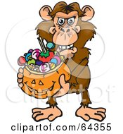Royalty Free RF Clipart Illustration Of A Trick Or Treating Chimp Holding A Pumpkin Basket Full Of Halloween Candy