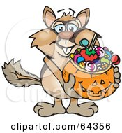 Royalty Free RF Clipart Illustration Of A Trick Or Treating Chipmunk Holding A Pumpkin Basket Full Of Halloween Candy