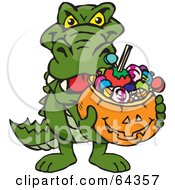 Royalty Free RF Clipart Illustration Of A Trick Or Treating Alligator Holding A Pumpkin Basket Full Of Halloween Candy