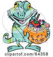 Royalty Free RF Clipart Illustration Of A Trick Or Treating Chameleon Holding A Pumpkin Basket Full Of Halloween Candy by Dennis Holmes Designs