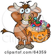 Royalty Free RF Clipart Illustration Of A Trick Or Treating Bull Holding A Pumpkin Basket Full Of Halloween Candy