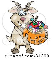 Royalty Free RF Clipart Illustration Of A Trick Or Treating Goat Holding A Pumpkin Basket Full Of Halloween Candy