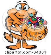 Royalty Free RF Clipart Illustration Of A Trick Or Treating Clownfish Holding A Pumpkin Basket Full Of Halloween Candy by Dennis Holmes Designs
