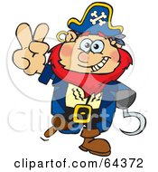 Royalty Free RF Clipart Illustration Of A Peaceful Pirate Gesturing A Peace Sign
