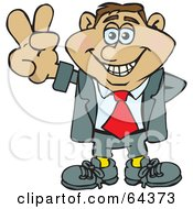 Royalty Free RF Clipart Illustration Of A Peaceful Businessman Gesturing A Peace Sign by Dennis Holmes Designs