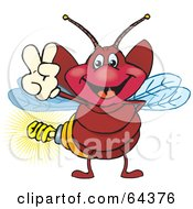 Royalty Free RF Clipart Illustration Of A Peaceful Firefly Gesturing A Peace Sign by Dennis Holmes Designs
