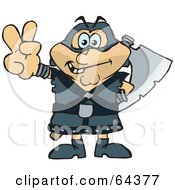 Royalty Free RF Clipart Illustration Of A Peaceful Executioner Gesturing A Peace Sign by Dennis Holmes Designs