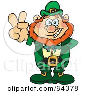 Royalty Free RF Clipart Illustration Of A Peaceful Leprechaun Gesturing A Peace Sign